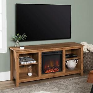 Walker Edison Wren Classic 4 Cubby Fireplace TV Stand for TVs up to 65 Inches, 5
