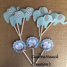 Elephant  cupcake  topper, Blue and Gray Elephant theme,It's a Boy/Baby elephant