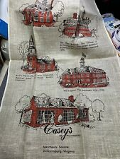Vintage Linen Nice Kitchen Towel Fabric Historic Virginia Buildings Unused