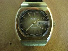 #221 mans gold plate 1977 BULOVA day/date  automatic watch