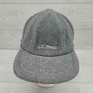 Vintage LL Bean Fleece Polartec Wind Bloc Hat With Ear Flaps Size L/XL Gray