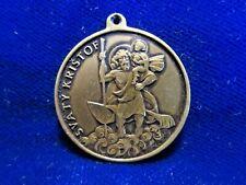 Svaty Kristof Medal St Christopher Czech Bosnia Inscription Brass Goldtone