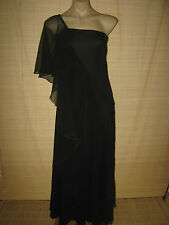 Preloved RETRO 70's  vintage BLACK goth boho chiffon FRILL Dress size 10-12 best