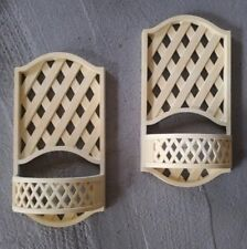 Homco Ivory Lattice Candle Holder Plant Sconce Wall Pair 2199 Burwood 1978 Vtg