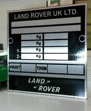 Land Rover Defender 90 110 130 Bulkhead Chassis Information Plate Plaque