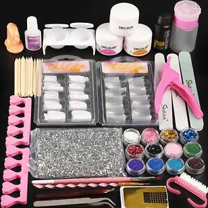 SHELLOLOH Acrylic Powder & Liquid Full Set Nail Art Tools Kit Tips Brush Sticker