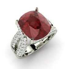 5.0Ct Solitaire with Accents Natural Gemstone Garnet Ring 14K Solid White Gold
