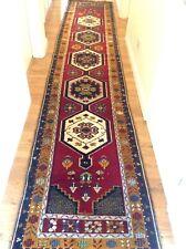 13ft Turkish Runner Rug Wool Geometric Tribal Red Hand Woven Oushak Corridor