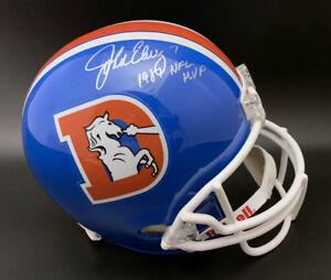 John Elway SIGNED Denver Broncos F/S Helmet + 1987 NFL MVP PSA/DNA AUTOGRAPHED