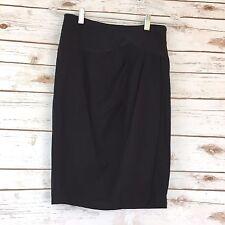 Bebe Women's Size 0 Black Pleated Side Wrap Career Fancy Pencil Straight Skirt