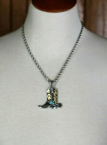 Western Boot Necklace Silver w Gold Crystal & Turquoise Accents Cowboy Rodeo