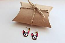 Fashion gold dangle dog earrings, french bulldog earrings, funky jewellery