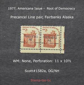 *(1) Line Pair of Fairbanks, Alaska Precancels, #1582a, Original Gum*