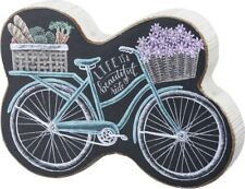 NEW!~Wood Chunky Shelf Sitter~Bike with Flowers & Vegetables~Life Is A Beautiful