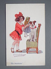 R&L Postcard: Children's Clement Farmer, Girl, Toy Doll, Jack Russell Terrier