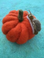 Needle Felted Pumpkin With little snail , OOAK Hand Crafted using natural wool