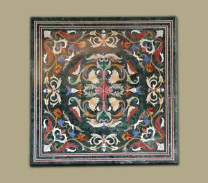 "36"" Green Marble Table top Semi Precious Stones Inlay Handmade Work Art"
