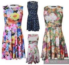 Stretch Sleeveless Floral Dresses for Women