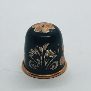 Beautiful Etched Enamel Copper Thimble w/ Floral Design