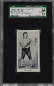 1938 CARTLEDGE RAZOR # 8 TOM CRIBB 92 NM/MT+ 8.5  SGC FAMOUS PRIZE FIGHTERS
