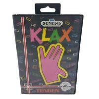 CIB KLAX (Sega Genesis, 1993) COMPLETE IN BOX - Cleaned & Tested