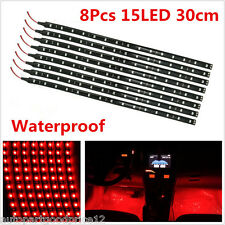 8pc Red 15LED Car Grill Flexible Light Strip / Footwell Floor Decor Lamp SMD 12V