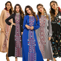 Women Indie Folk Style Long Dress Ethnic Floral Printed Abaya Muslim Maxi Gown