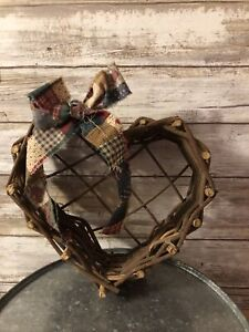 Vintage White Wicker Woven Heart Shape Wall Hanging or Planter Basket.