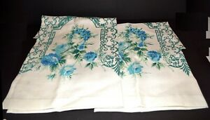 "Vintage Pair Ivory White with Blue Roses Cotton Blend Curtains 35"" X 33""  NWOT"