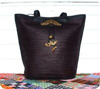 UNIKAT Leder Bast Tasche Schultertasche Bag Handtasche Folklore Ethno Strand