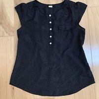 J. Crew Women's Top Size S Black White polka Dot Flutter Sleeve