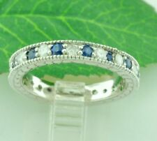 14k Solid White gold Natural Blue Sapphire & Diamond ring Eternity 1.15 ct
