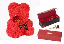 Rot Vergoldete Goldene Gold Rose ROSEN BÄR TEDDYBÄR Valentinstag Liebes Geschenk