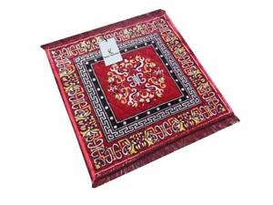 Red Velvet Prayer Mat Pooja Chowki Asan Used In Home & Temple, 24 x 24 Inch UK