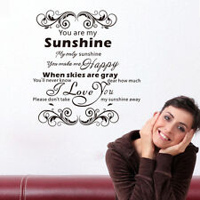 You Are My Sunshine Wall Decal Sticker Quote Pvc Removable Lettering Decoration