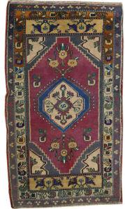 Vintage Oriental Hand Knotted Wool Geometric Traditional Turkish Area Rug 3x5