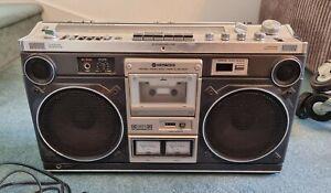 Hitachi Portable Stereo Receiver Radio Cassette Recorder TRK-8180E Boombox