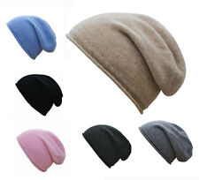 Mens Ladies Luxury 100% Cashmere Slouchy Slouch Hat Beanie With Rolled Edges