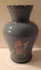 Blue Glass Vase with Pink Flower Lily Scalloped Top Edge (sds)