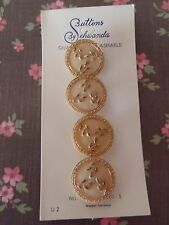 4 Vintage Glass Buttons Beige Schwanda Card craft sew jewelry scrapbo knit quilt