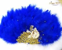 Royal Blue Hand fan wedding African Nigerian Traditional engagement custom made