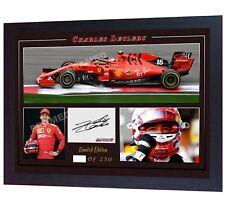 * Charles Leclerc Ferrari sebastian vettel signed Autographed photo F1 Framed