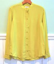 Equipment NWT Cam Collarless Washed Silk Blouse Warm Olive Yellow M/Medium $238