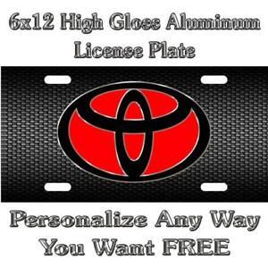 Toyota Symbol Carbon Fiber RED Sign Custom Monogram License Plate Auto Car Tag P