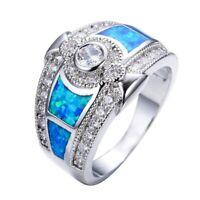 Fashion Blue Fire Opal White Topaz Women Jewelry Gemstone 925 Silver Ring Sz5-12