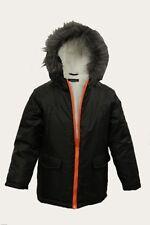 NEUF Garçons Enfants Freaky veste parka noir capuche fourrure doublé Noël