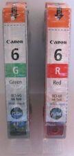 Canon Genuine BCI-6R & BCI-6G Cartucce di inchiostro. NUOVO.