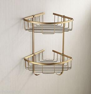 Antique Brass Bathroom Shower Shelf Shower Double Basket Hanger Storage Holder