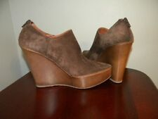 Palomitas Womens dark beige leather wedge shoes - size 9