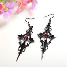 Women's Gothic Punk Style Cross Pattern Earring Metal Red Rhinestone Ear Pendant